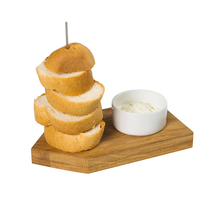Bread Ahoi serving tray with dipping bowl, oak / white of room design