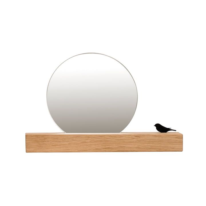 Mirror with bird Ø 15 cm, natural oak of room design