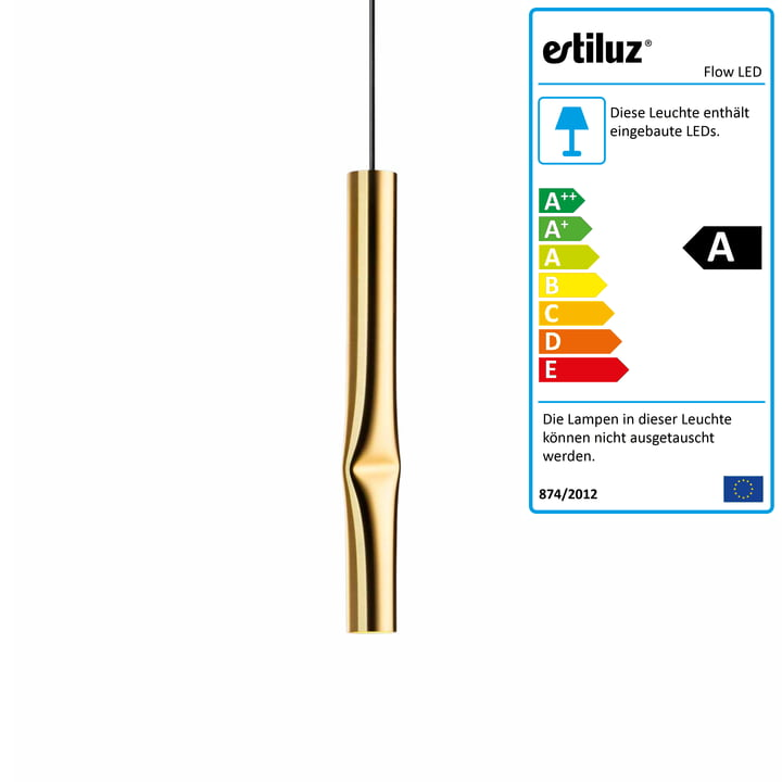 Flow LED pendant lamp from Estiluz in gold