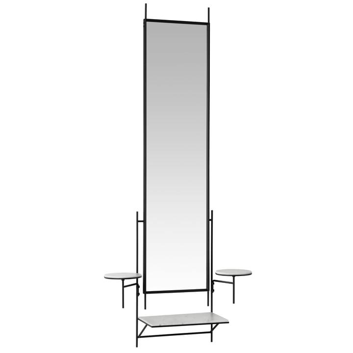 Paul McCobb wall mirror with shelf by Fritz Hansen in Carrara marble white