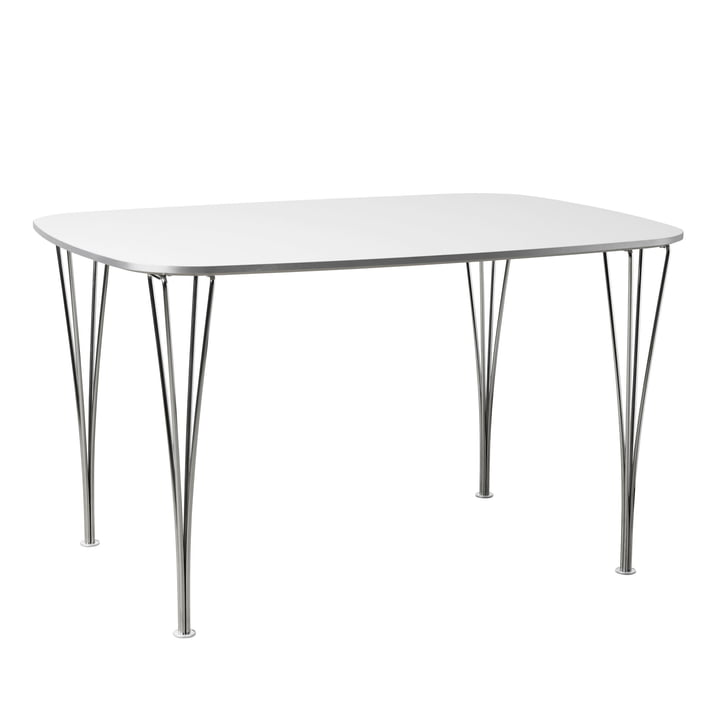 FH125 table 125 x 90 cm by Fritz Hansen in chrome / white
