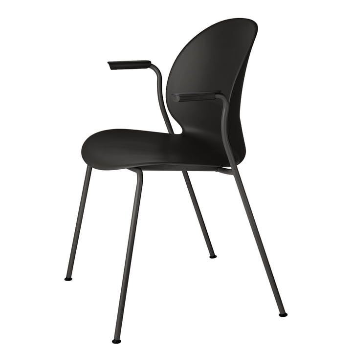 N02 Recycle chair with armrests by Fritz Hansen in black