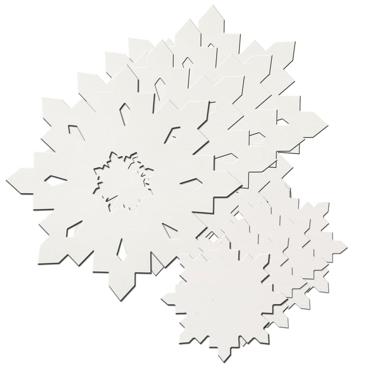 Snowflake gift set from LindDNA in crystal white 1,6 mm (4 placemats + 4 glass coasters)