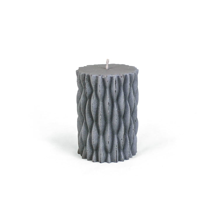 Connox Collection - rustic block candle with decor, H 9 cm / dark grey
