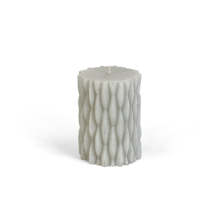 Connox Collection - rustic block candle with decor, H 9 cm / light grey