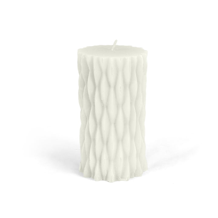 Connox Collection - rustic block candle with decor, H 12cm / white