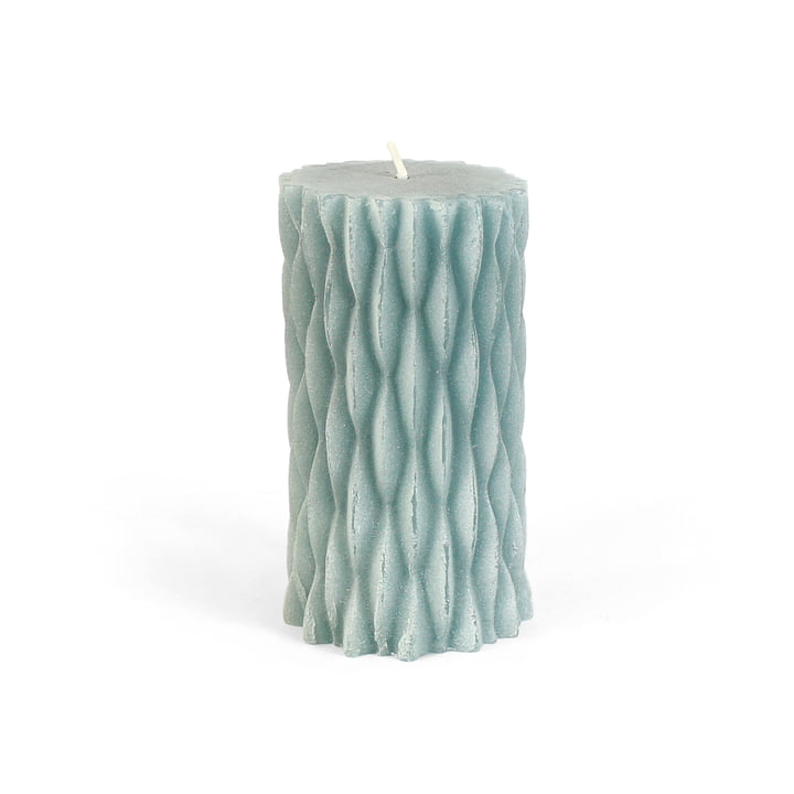 Block candle in mint green with ripples