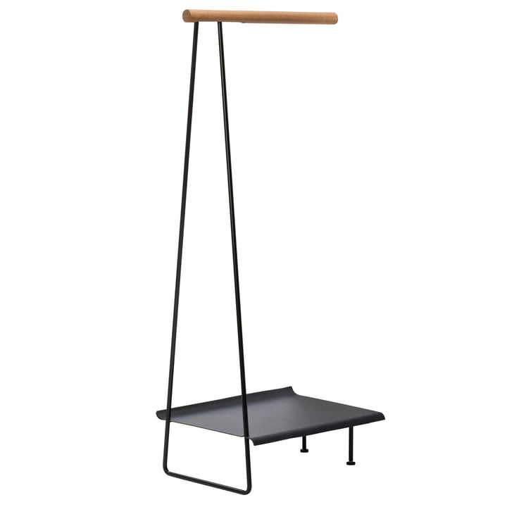 Clothes Rack Wall Shelf coat rack by LindDNA in steel black / oak natural / hippo anthracite black
