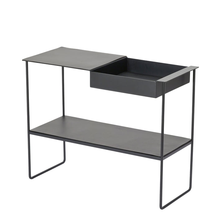 Console table with tray by LindDNA in black aluminium / black Bull