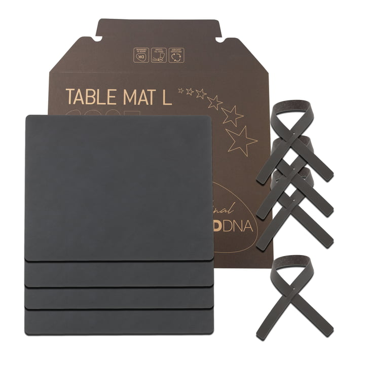 Gift set Square L by LindDNA in Nupo anthracite (4 placemats + 4 napkin rings)