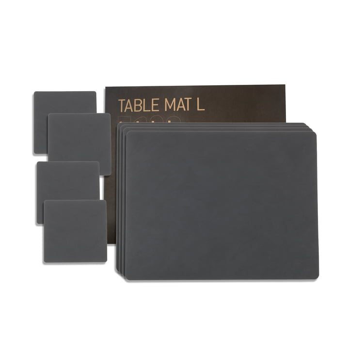Gift set Square L by LindDNA in Nupo anthracite (4 placemats + 4 glass coasters)