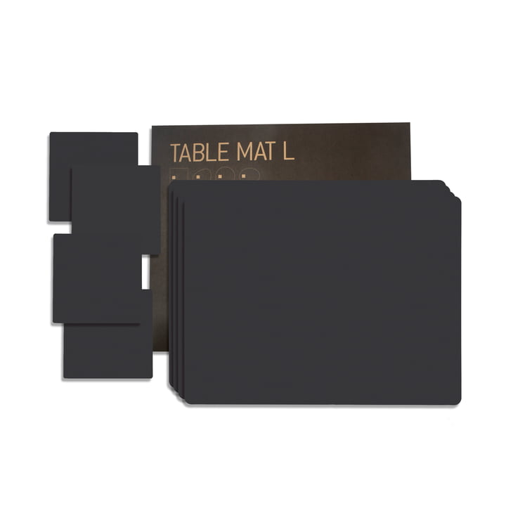 Gift set Square L by LindDNA in Nupo black (4 placemats + 4 glass coasters)