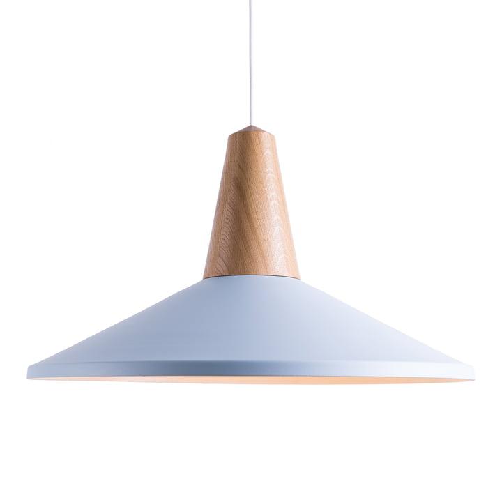 Eikon Shell pendant lamp, oak / ice blue by Schneid