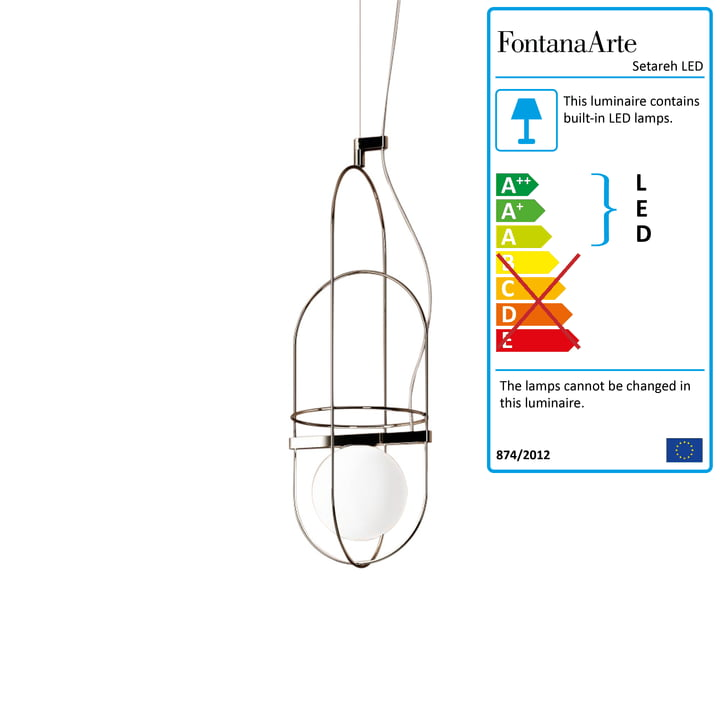 Setareh LED Pendant Lamp small by FontanaArte in Gold