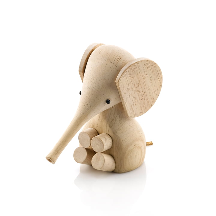 Gunnar Flørning Baby Elephant wooden figure H 11 cm by Lucie Kaas in rubber tree nature