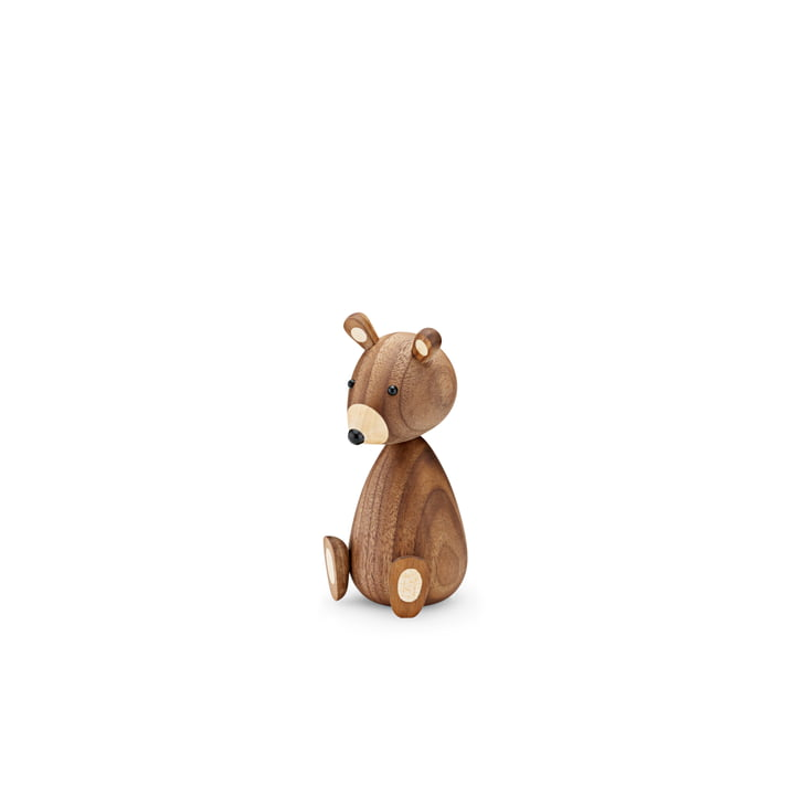 Baby Bear wooden figure H 11 cm by Lucie Kaas in walnut