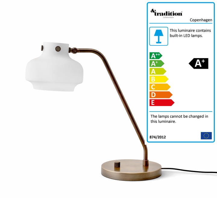 Copenhagen table lamp SC15 from & tradition in opal glass / browned brass