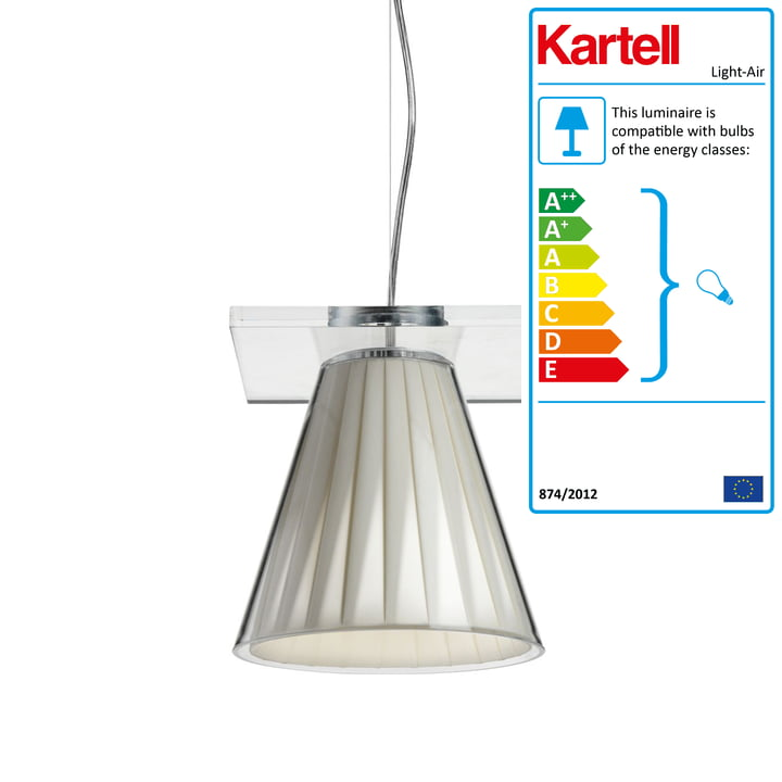 Light-Air pendant luminaire, crystal clear / beige by Kartell