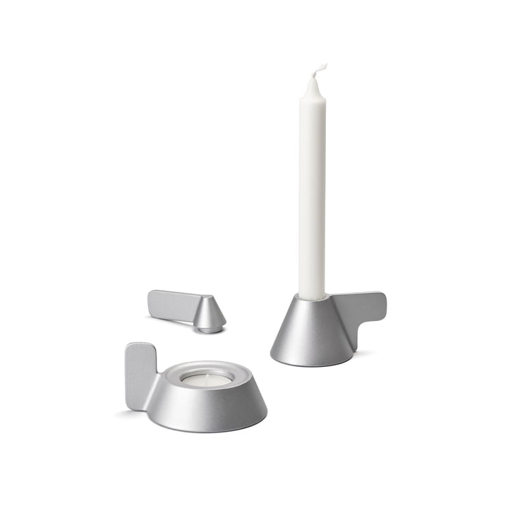 Cone candle holder from Design House Stockholm in grey