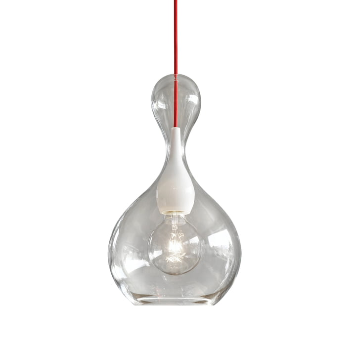 Blubb 1 pendant luminaire from Next Home in clear / opal / red