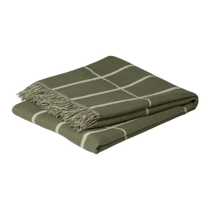 Tiiliskivi woollen blanket 130 x 180 cm, grey-green / white by Marimekko