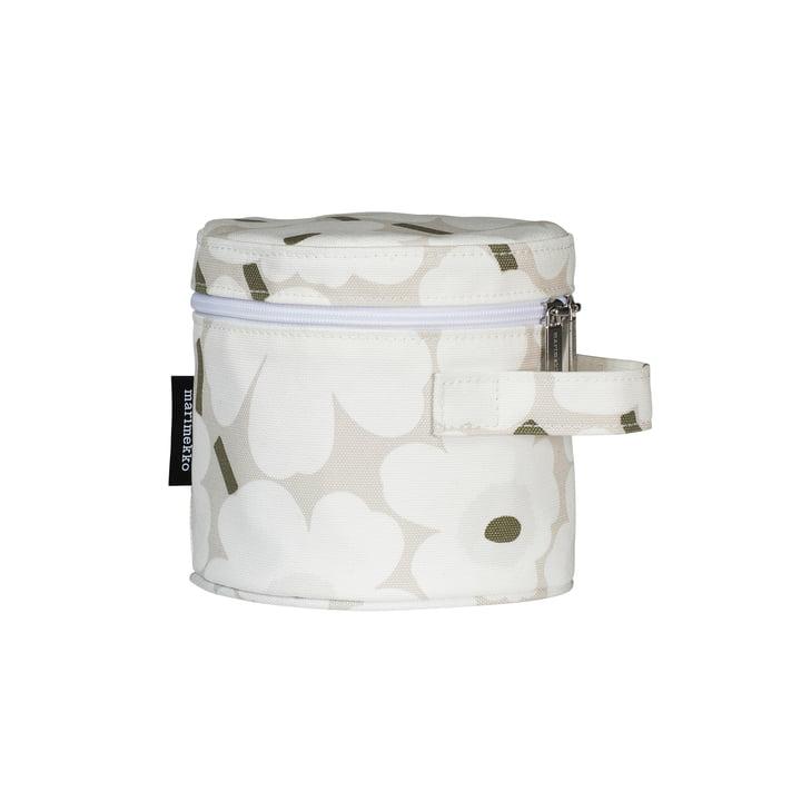 Liuske Mini Unikko cosmetic bag, beige / white / grey-green by Marimekko
