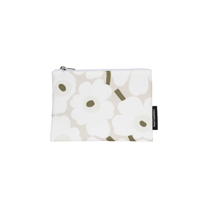 Kaika Mini Unikko Cosmetic Bag, beige / white / grey-green by Marimekko