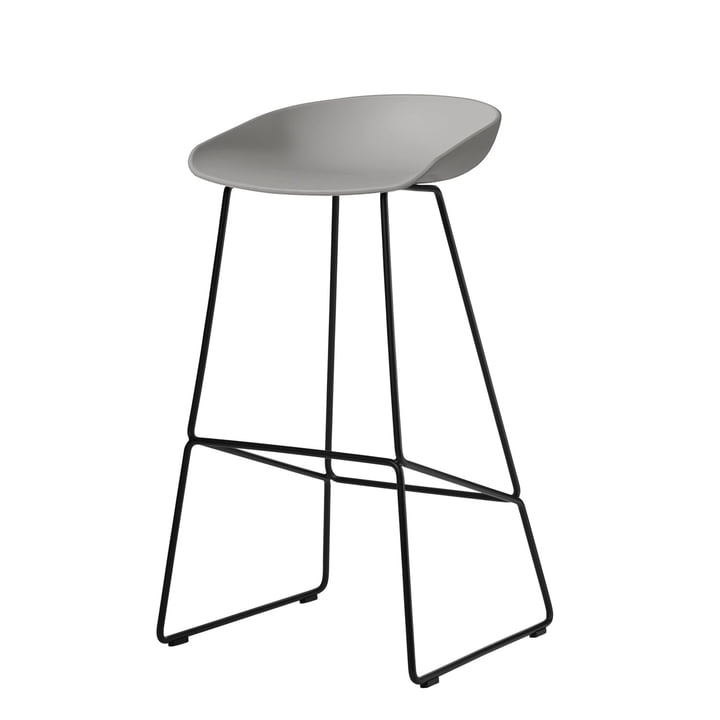 About A Stool AAS 38 bar stool H 85 by Hay in black / concrete gray