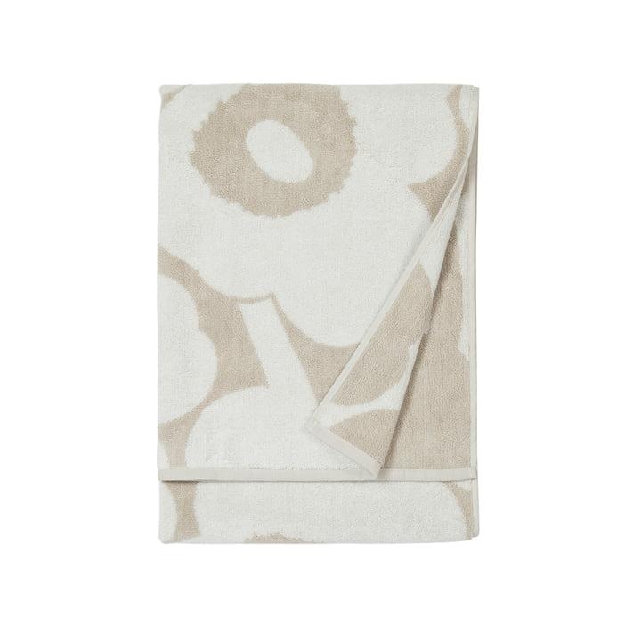 Unikko bath towel 70 x 150 cm, beige / white by Marimekko
