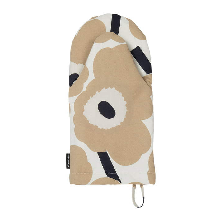 Pieni Unikko oven glove, off-white / beige / dark blue by Marimekko