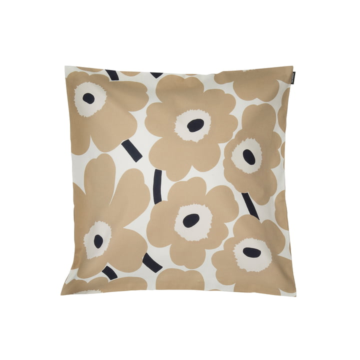 Pieni Unikko cushion cover 50 x 50 cm, off-white / beige / dark blue by Marimekko