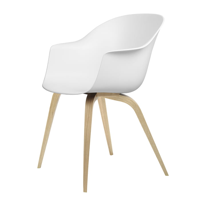 Bat Dining chair by Gubi in oak semi matt lacquered / pure white