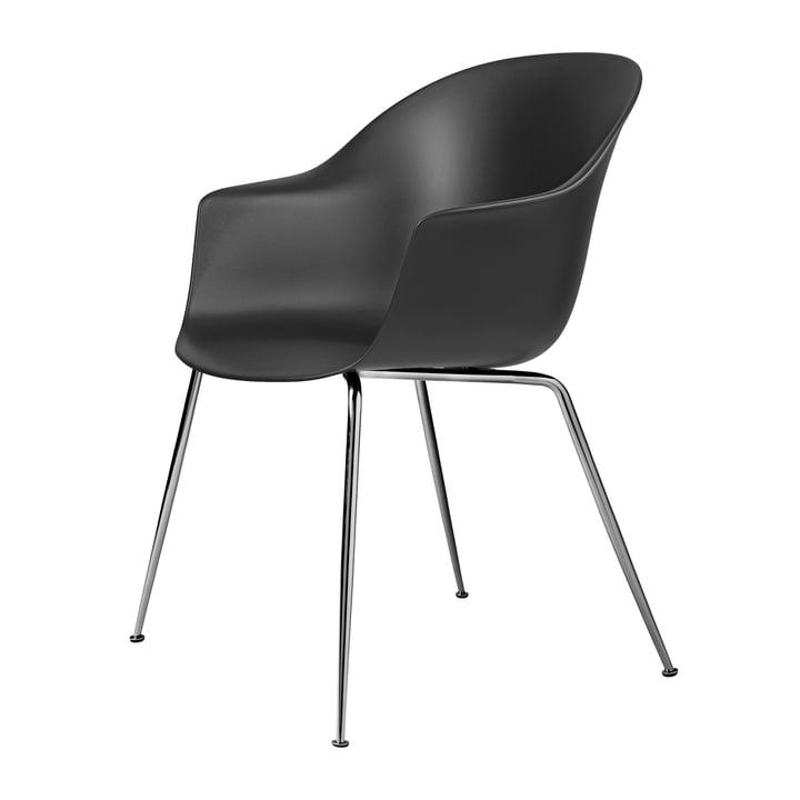 Bat Dining chair by Gubi in base chrome / black