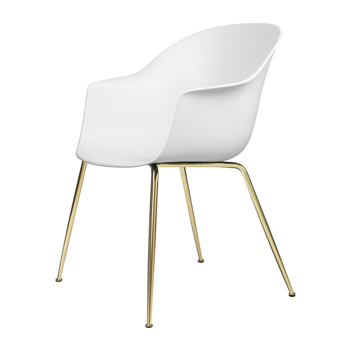 Bat Dining chair from Gubi in base brass / pure white