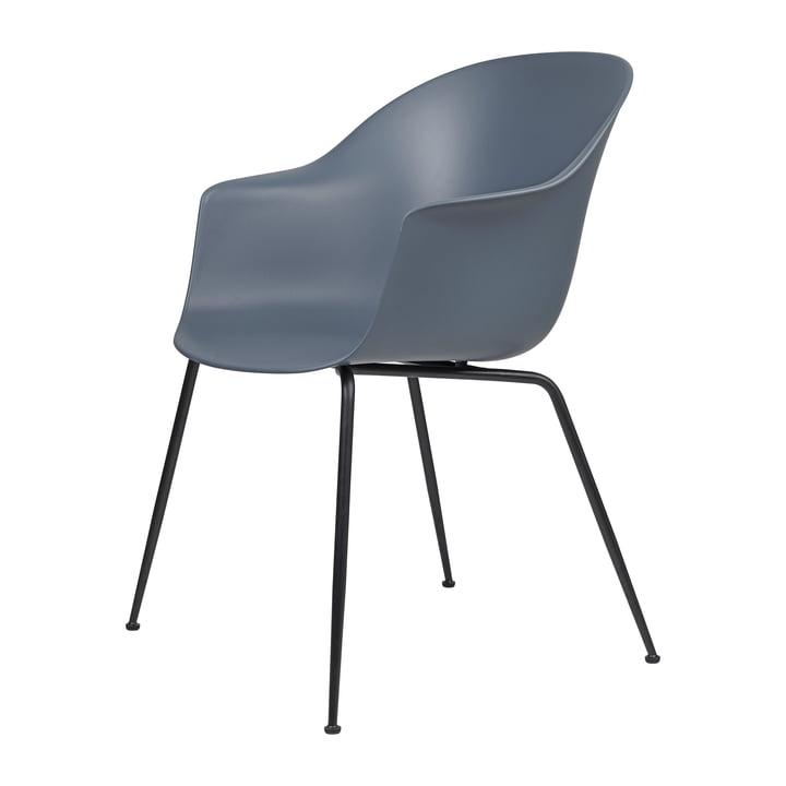 Bat Dining Chair by Gubi in Base black / blue-grey