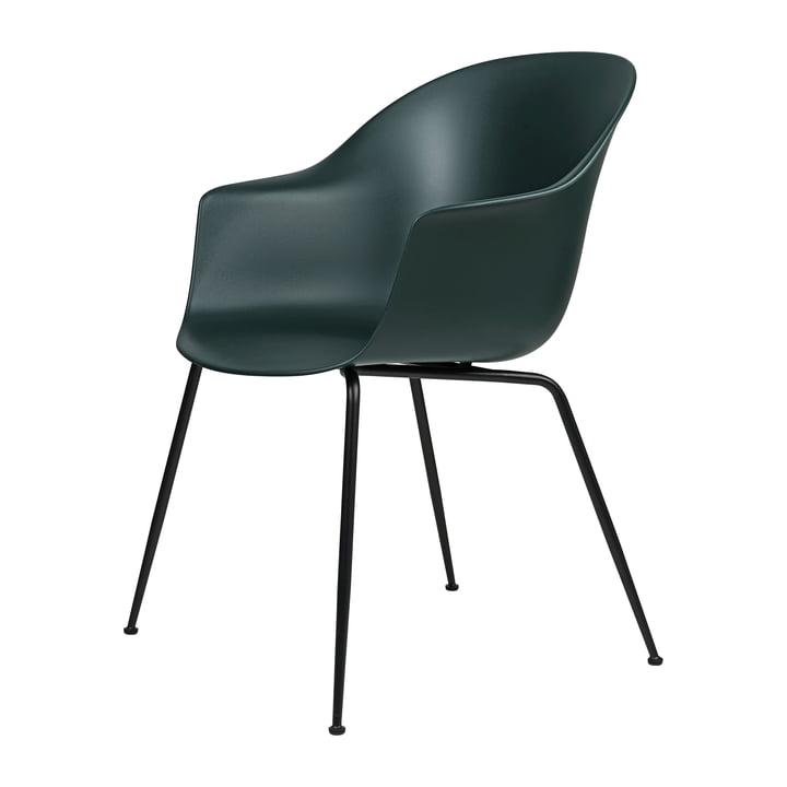 Bat Dining Chair by Gubi in Base black / green
