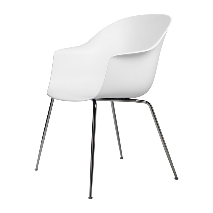 Bat Dining chair by Gubi in base black chrome plated / pure white