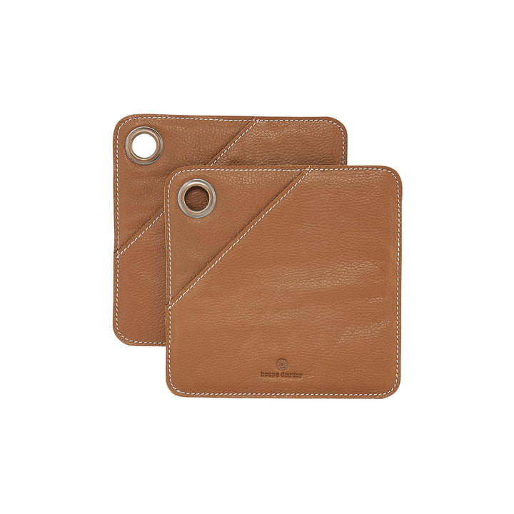 Square leather pot holder, cognac (set of 2) by House Doctor