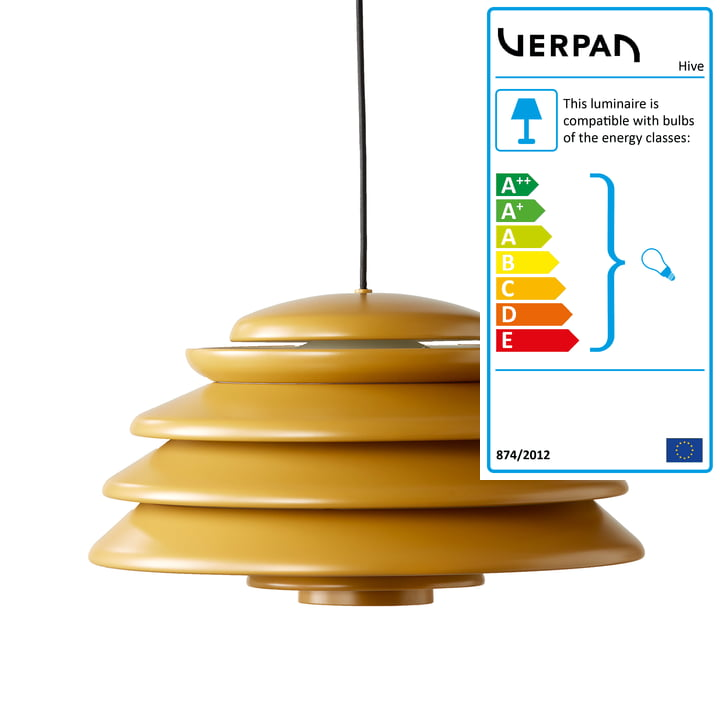 Hive Yellow pendant Ø 48 cm from Verpan