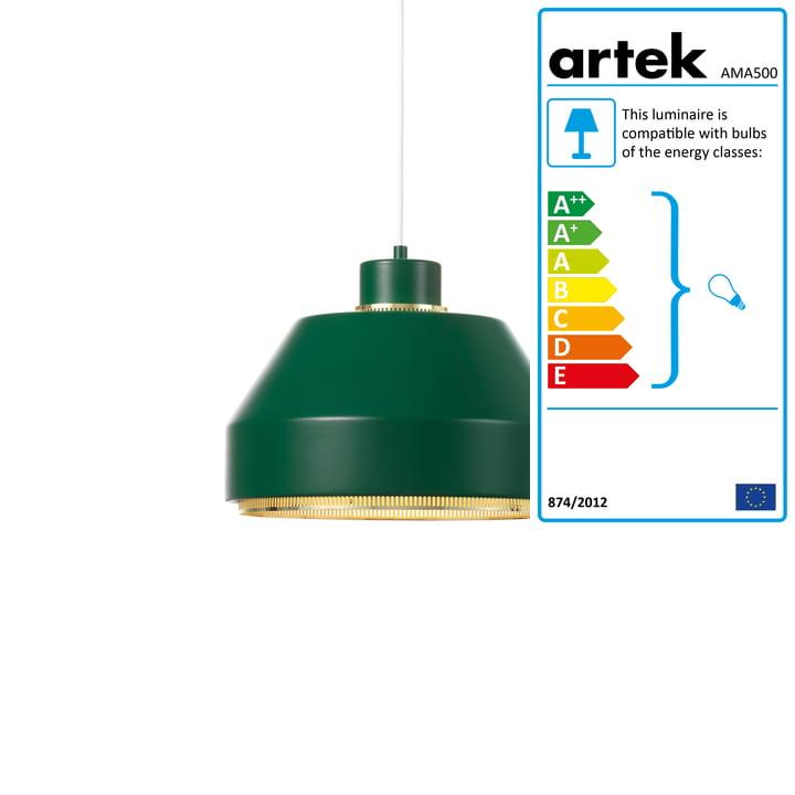 AMA500 pendant light from Artek in brass / dark green
