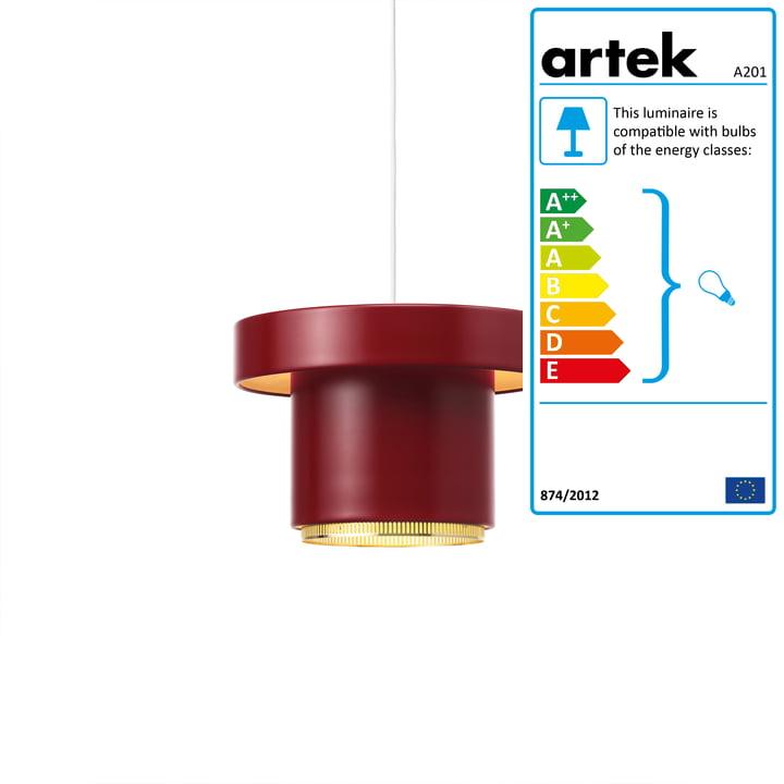 A201 pendant lamp from Artek in brass / dark red