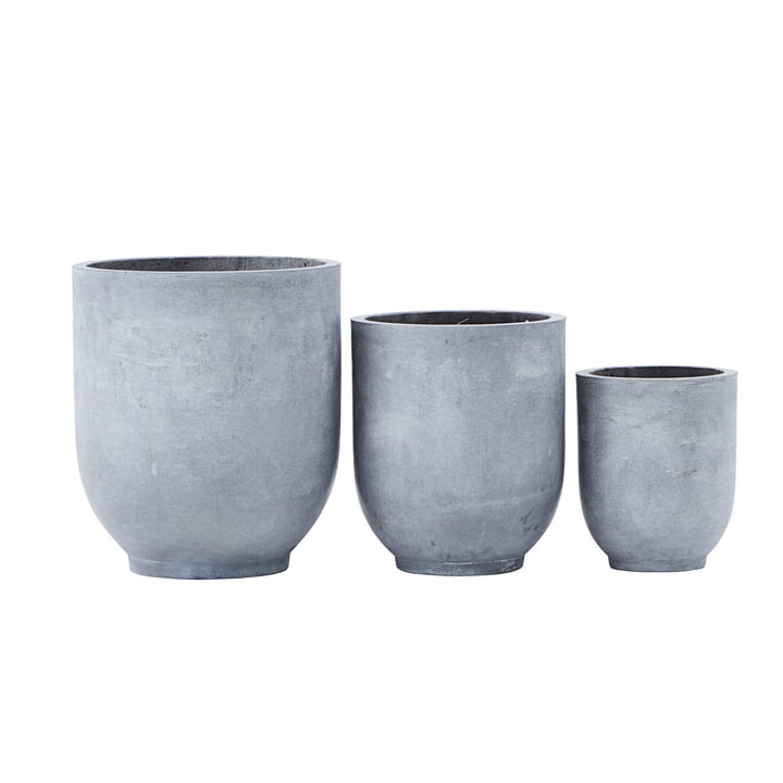 Gard plant pots, light grey (set of 3) by House Doctor