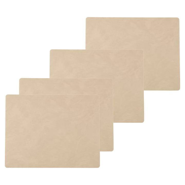 Place mat Square L, 35 x 45 cm from LindDNA in Nupo sand (set of 4)