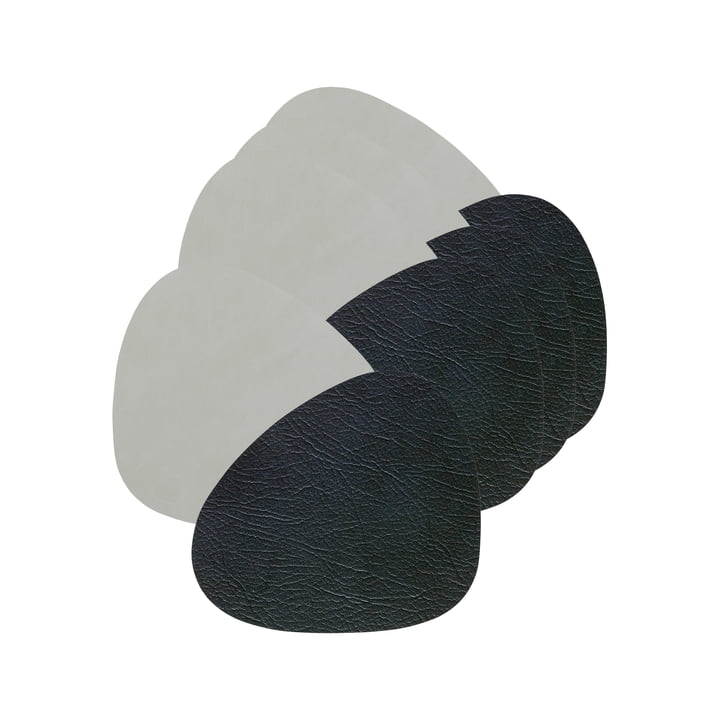 Glass coaster Curve Double from LindDNA in Cloud black / Nupo metallic (set of 4)