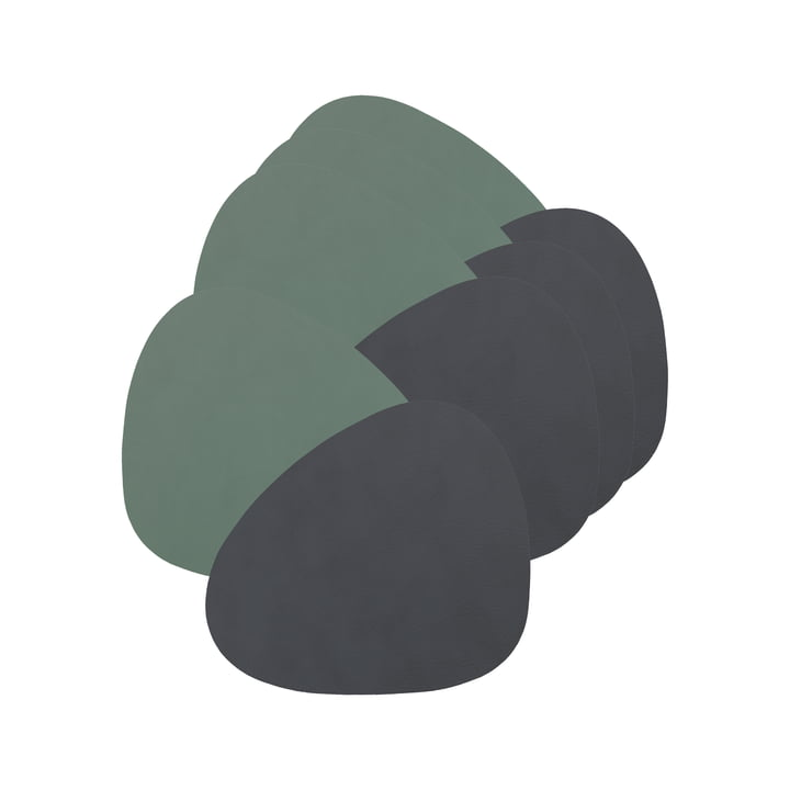 Glass coaster Curve Double from LindDNA in Cloud anthracite / Nupo pastel green (set of 4)