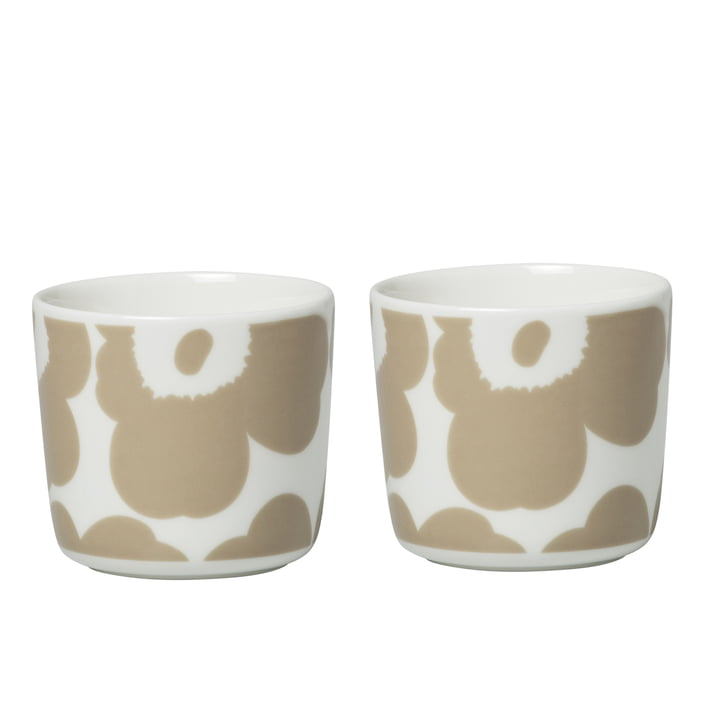 Oiva Unikko mug (set of 2), 200 ml, white / beige by Marimekko