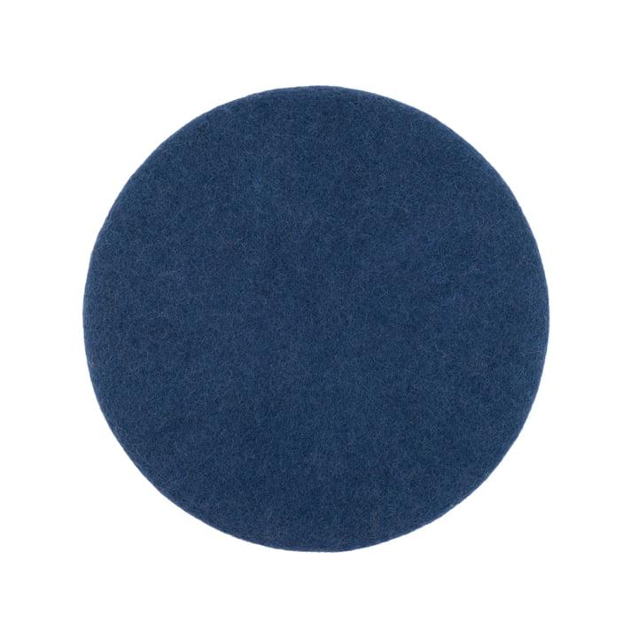 Alva seat cover flat Ø 36 cm from myfelt in dark blue