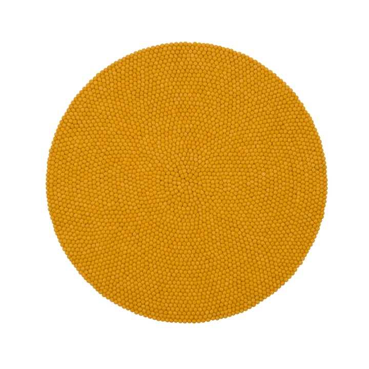 Klara felt ball carpet Ø 140 cm by myfelt in mustard yellow