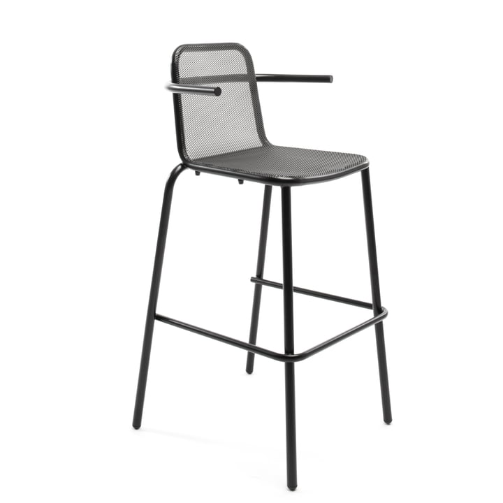 Nice bar stool with armrests, black by Conmoto