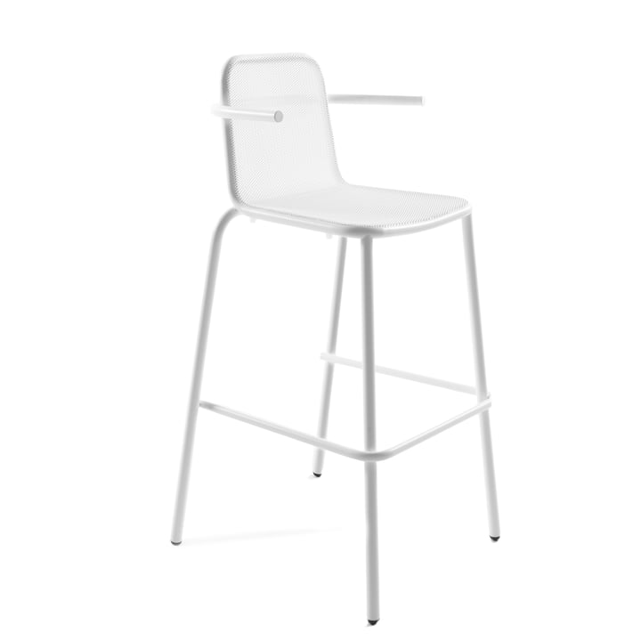 Nice bar stool with armrests, white by Conmoto